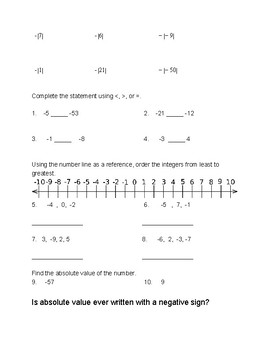 M7 Ch. 3 Integers ESSENTIALS Practice and Assessment