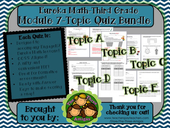 M7 Eureka Math - Topic Quiz Bundle (Grade 3)