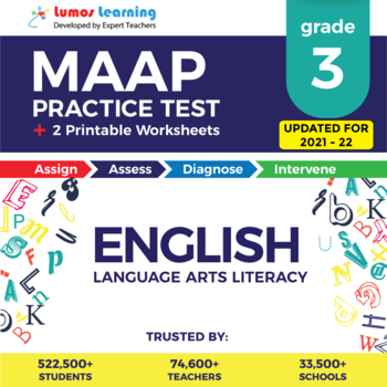 MAAP Practice Test, Worksheets - Grade 3 English Language Arts - ELA Test Prep