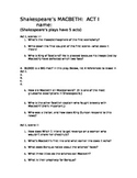 MACBETH Act I Worksheet