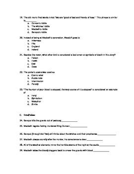 MACBETH Acts 1-5 Quiz with Answer Key