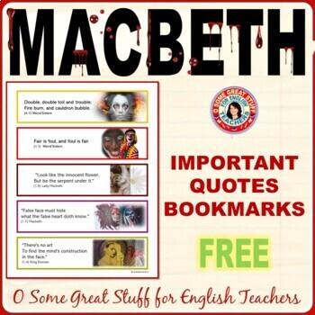 MACBETH BOOKMARKS!  FREE!