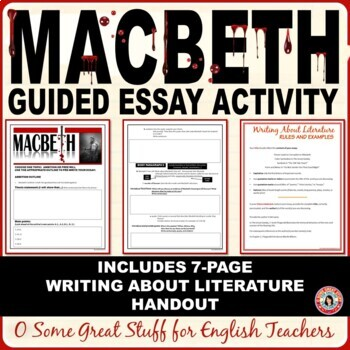 MACBETH Final Analysis Essay / Two Prompts / Prewriting Guided Outline