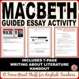 MACBETH Final Analysis Essay with Two Prompts and Prewriting Guided Outline