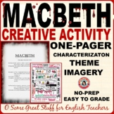 MACBETH Fun and Creative Activity for Characterization, Theme, and Blood imagery