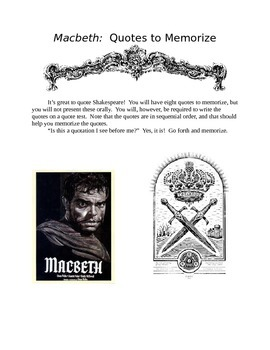 MACBETH Quotes, Test, and Key