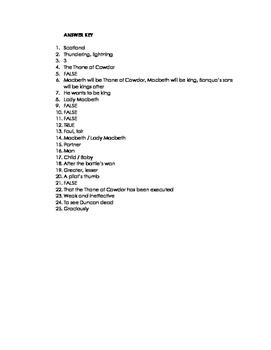 MACBETH UNIT: Act 1 Quiz Study Guide