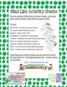 MAD LIBS Activity Sheets