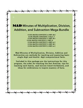 MAD Minutes MEGA Bundle (Addition, Subtraction, Multiplication & Division)