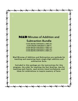 MAD Minutes of Addition & Subtraction (Bundle)