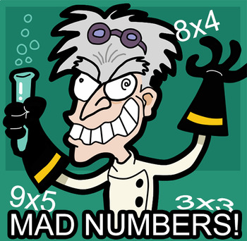 MAD NUMBERS! Multiplication practice worksheet homework CC.MATH.CONTENT.3.OA.A.1
