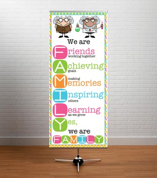 MAD SCIENTIST theme - Classroom Decor: LARGE BANNER, We Are FAMILY