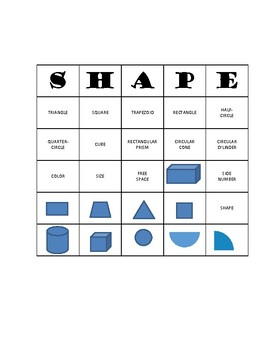 MAFS.1.G.1.1 AND MAFS.1.G.1.2 First Grade Math Bingo: Shapes and Attributes