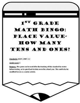 MAFS.1.NBT.2.2 First Grade Math Bingo: How Many Tens and Ones?