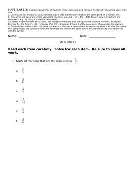 MAFS 3.NF.1.3 Standard Based Assessment