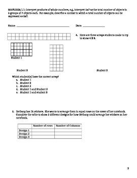 MAFS 3.OA.1.1 Standard Based Assessment