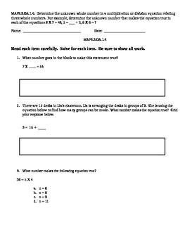 MAFS 3.OA.1.4 Standard Based Assessment