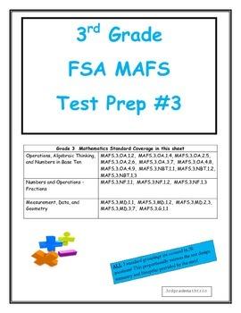 FSA MAFS 3rd Grade Test Prep 3- Common Core Aligned