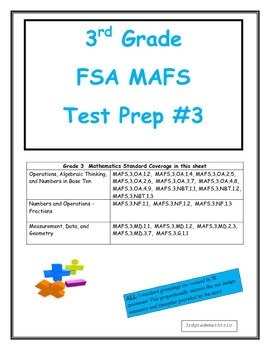 FSA MAFS 3rd Grade Test Prep 3- Common Core Aligned
