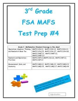 FSA MAFS 3rd Grade Test Prep 4- Common Core Aligned
