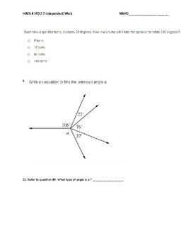 MAFS.4.MD.3.7 Independent Classwork 10 Questions