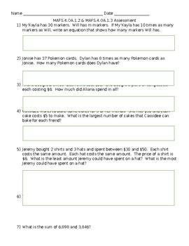 MAFS.4.OA.1.2 & OA.1.3 Assessment