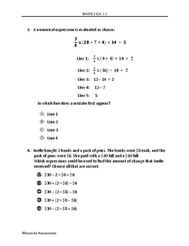 MAFS.5.OA.1.1 - 10 Question Assessment (multiple DOK's and FSA item types)