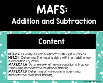 MAFS Addition and Subtraction Task Cards