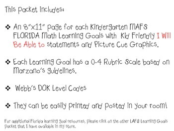 MAFS I WILL BE ABLE TO format Kindergarten MATH Learning Goals & Rubrics