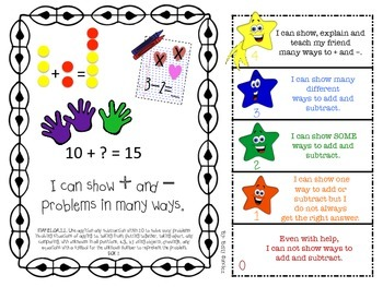 MAFS FLA FIRST GRADE Math Learning Goals with 2 SETS of RUBRICS & DOK Levels