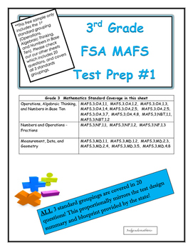 FSA MAFS Third Grade Test Prep 1- Common Core Aligned