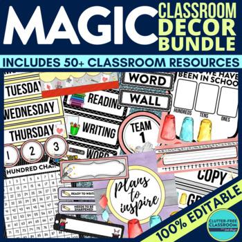 MAGIC THEME Classroom Decor - EDITABLE Clutter-Free Classr