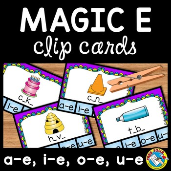 LONG VOWELS ACTIVITIES: MAGIC E CENTER: CVCE CLIP CARDS: P