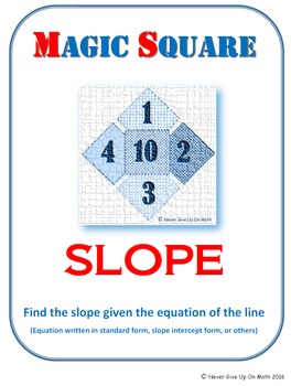 MAGIC SQUARE - Find the slope from a given equation