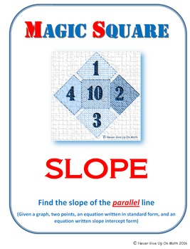 MAGIC SQUARE - Find the slope of parallel lines (graph, po