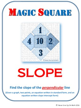 MAGIC SQUARE - Find the slope of perpendicular line (graph, points, & equations)