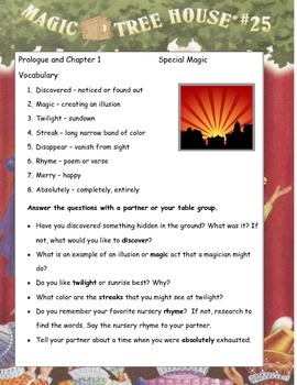 MAGIC TREE HOUSE #25 Stage Fright on a Summer Night Study Guide
