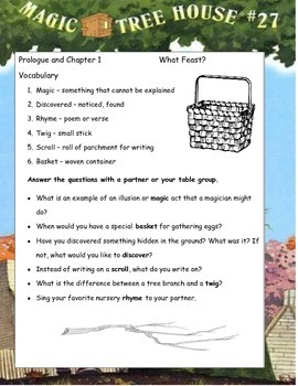 MAGIC TREE HOUSE #27 Thanksgiving on Sunday ELA Study Guide