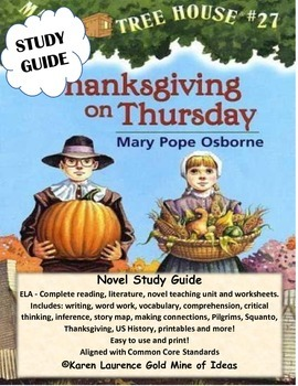 MAGIC TREE HOUSE #27 Thanksgiving on Sunday ELA Study Guide