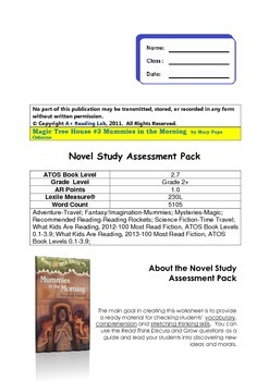 MAGIC TREE HOUSE #3 MUMMIES IN THE MORNING NOVEL STUDY ASSESSMENT PACT