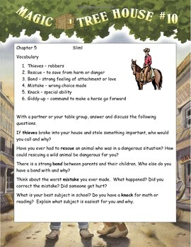 MAGIC TREE HOUSE #10 Ghost Town at Sundown Reading Novel ELA Study Guide