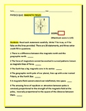 MAGNETIC FIELDS: A  SCIENCE/ PHYSICS QUIZ WITH ANSWER KEY