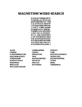 MAGNETISM WORD SEARCH