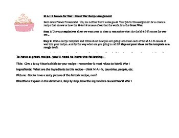 MAIN Causes for the Great War Recipe Activity (World War I)