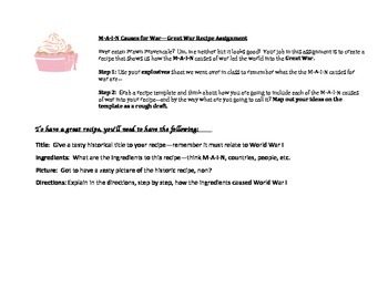 MAIN Causes for the Great War - Recipe Activity (World War I)