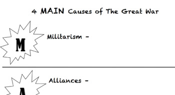 MAIN Causes of The Great War (WWI)