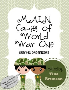 m a i n causes of world war one graphic organizer by tina brunson. Black Bedroom Furniture Sets. Home Design Ideas