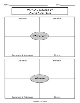 m a i n causes of world war one graphic organizer by tina brunson m a i n causes of world war one graphic organizer