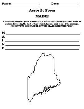 MAINE Acrostic Poem Worksheet