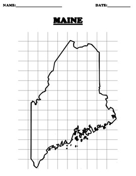 MAINE Coordinate Grid Map Blank